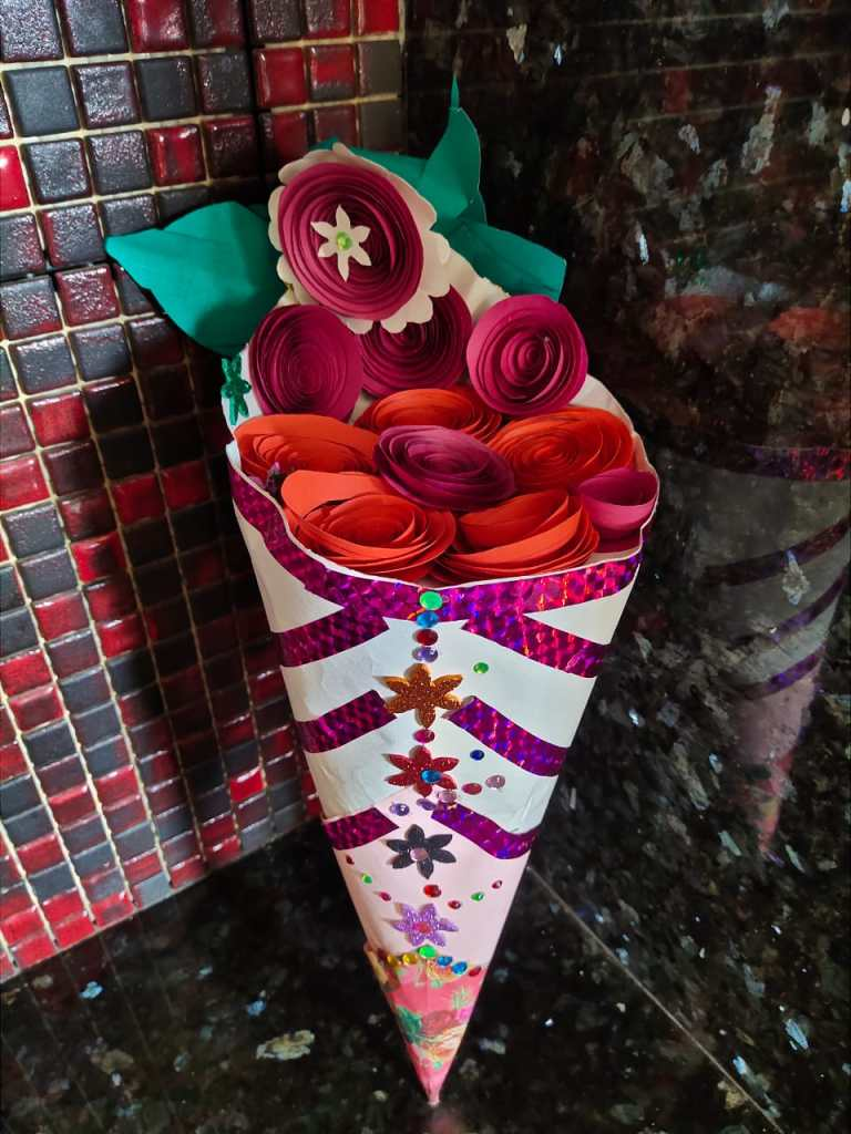 Quilling present made by students for Sneha & Pratik